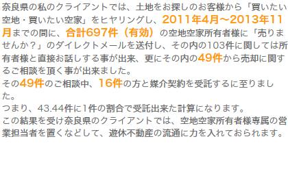 1.奈良県での事例(媒介受託率:43.44件に1件受託)