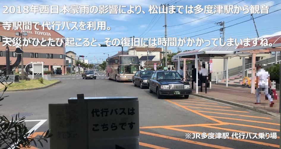 2018年西日本豪雨の影響により、松山までは多度津駅から観音寺駅間で代行バスを利用。